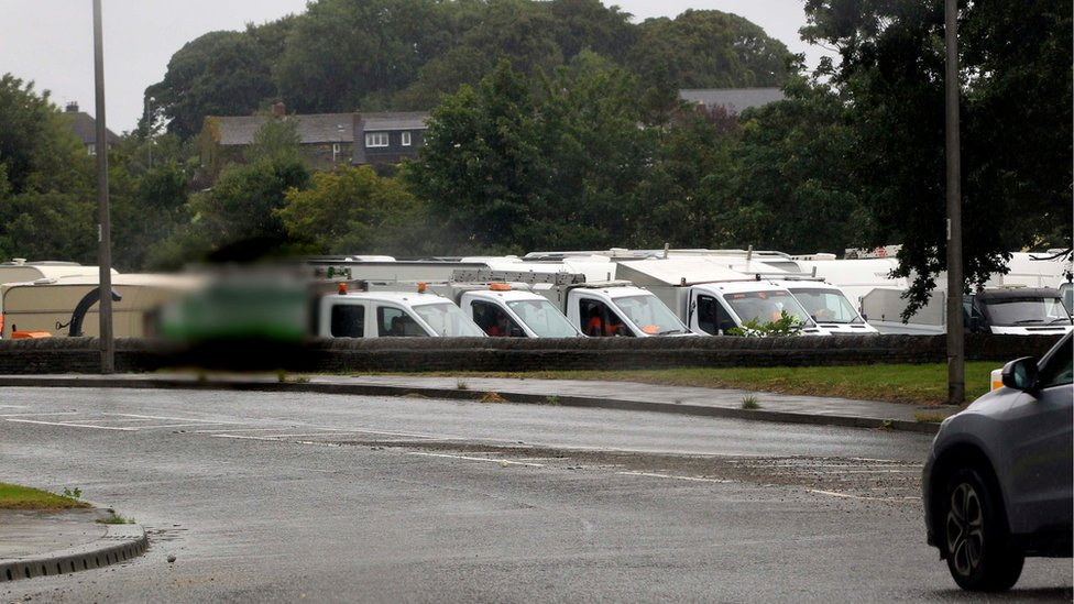A traveller camp at West Bretton, near to Yorkshire Sculpture Park
