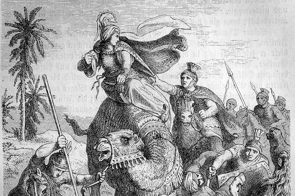 Un dibujo que muestra a Aureliano atrapando a Zenobia.