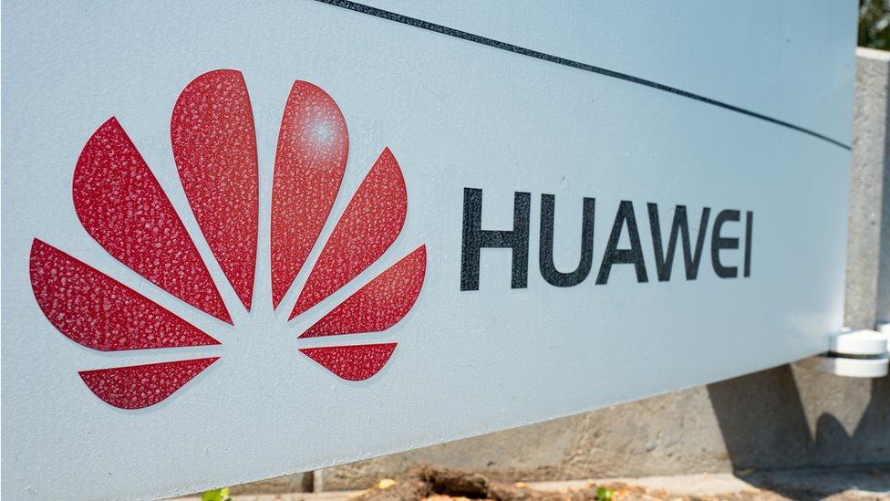Signage with logo at the Silicon Valley headquarters of Chinese telecommunications company Huawai, Santa Clara, California, August 17, 2017