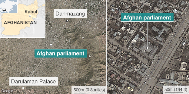 Map showing Afghan parliament