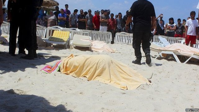 A body is seen in the aftermath of the attack
