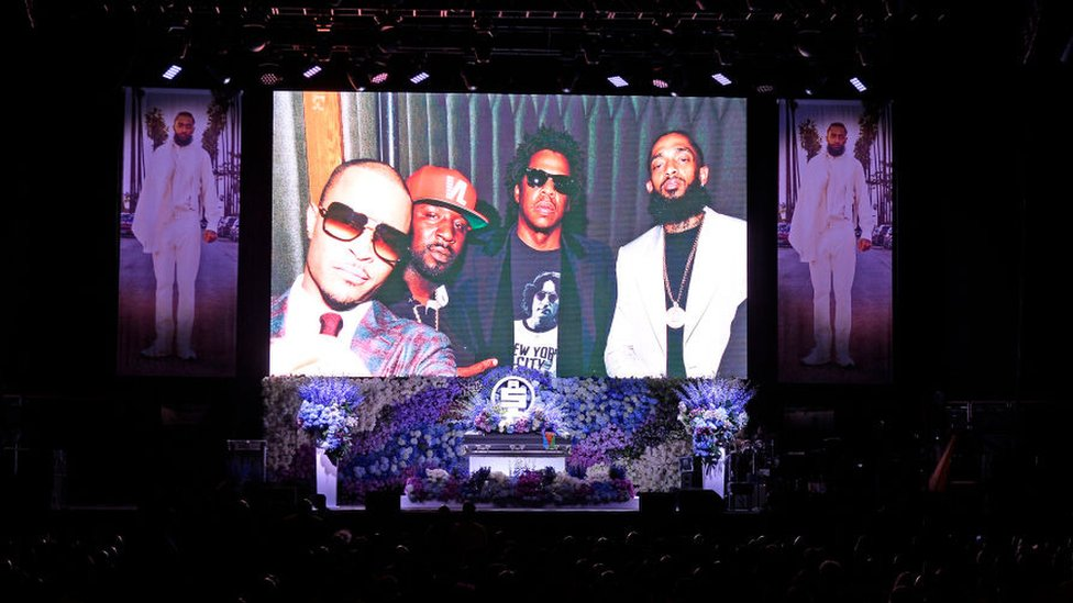 Photos shown at Nipsey Hussle's memorial service