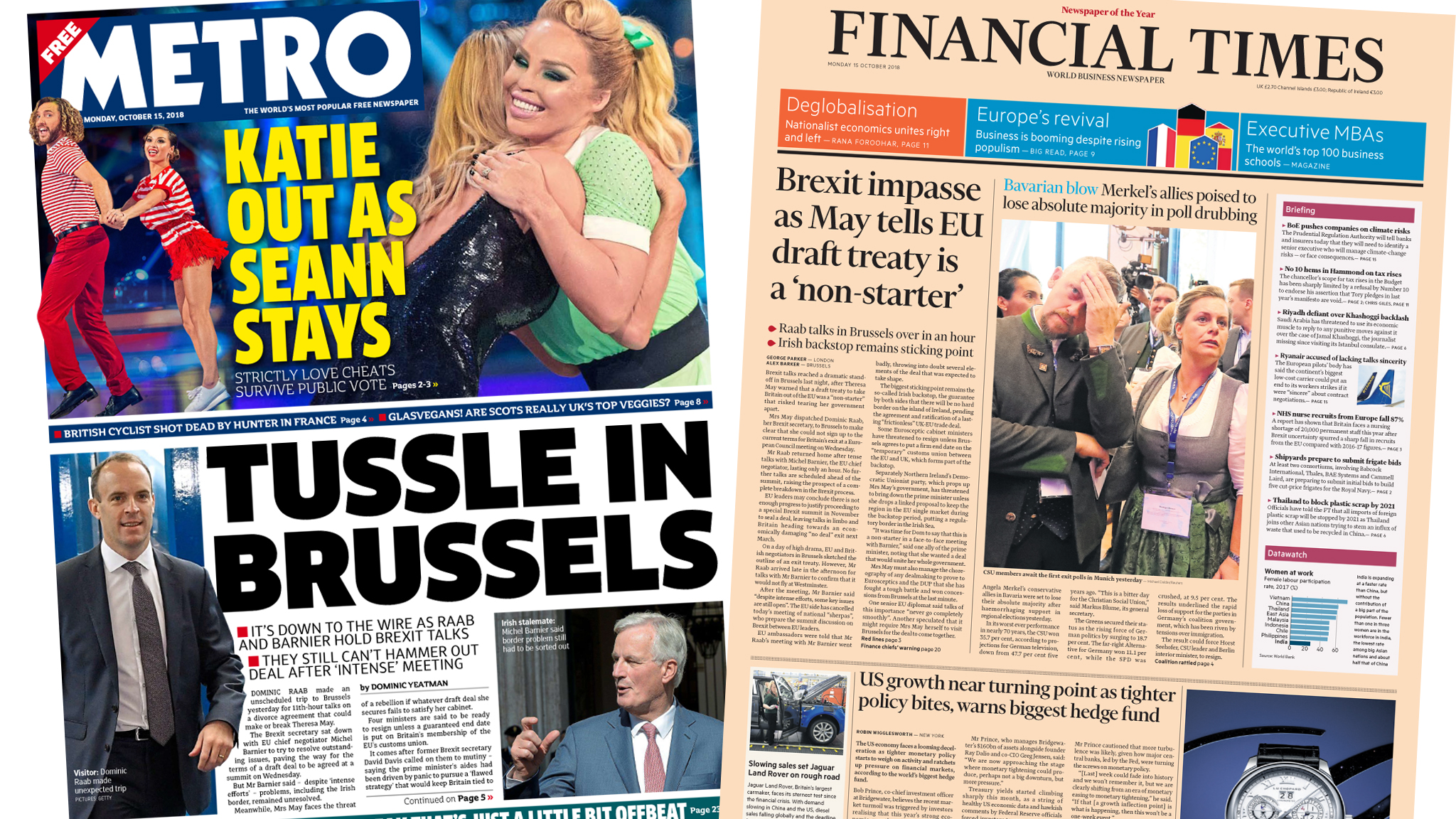 The Papers: 'Brexit impasse' and a 'tussle in Brussels'