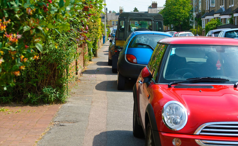 Cars on pavement
