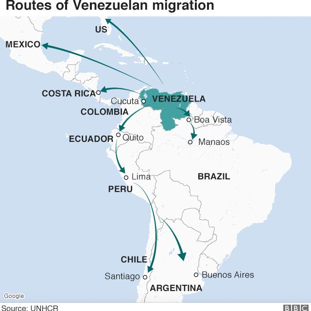 Map showing emigration routes