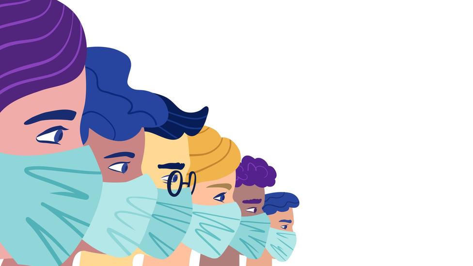 Ilustração de várias pessoas com cores e gêneros diferentes de perfil, enfileiradas e com máscaras