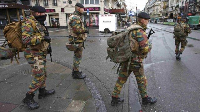 Soldiers on patrol in Brussels