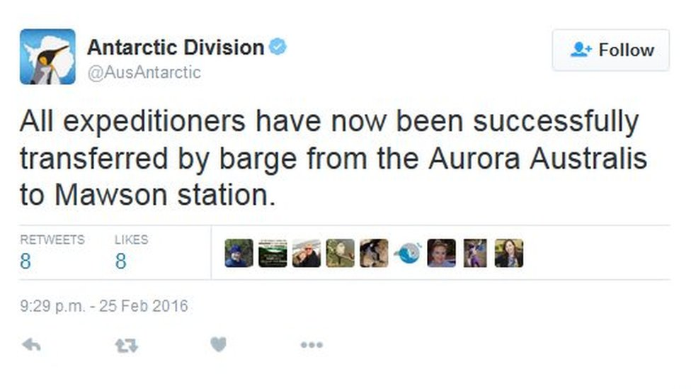 "Tweet by the Australia Antarctic Division saying""All expeditioners have now been successfully transferred by barge from the Aurora Australis to Mawson station."""