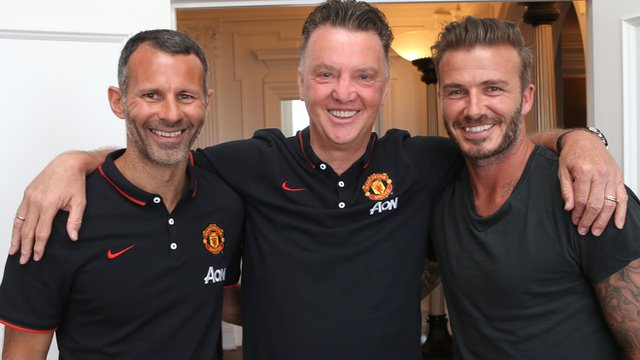 (l-r) Ryan Giggs, Louis Van Gaal and David Beckham