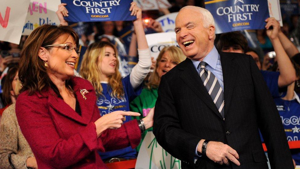 Republican presidential candidate Arizona Senator John McCain and his vice presidential candidate Alaska Governor Sarah Palin l