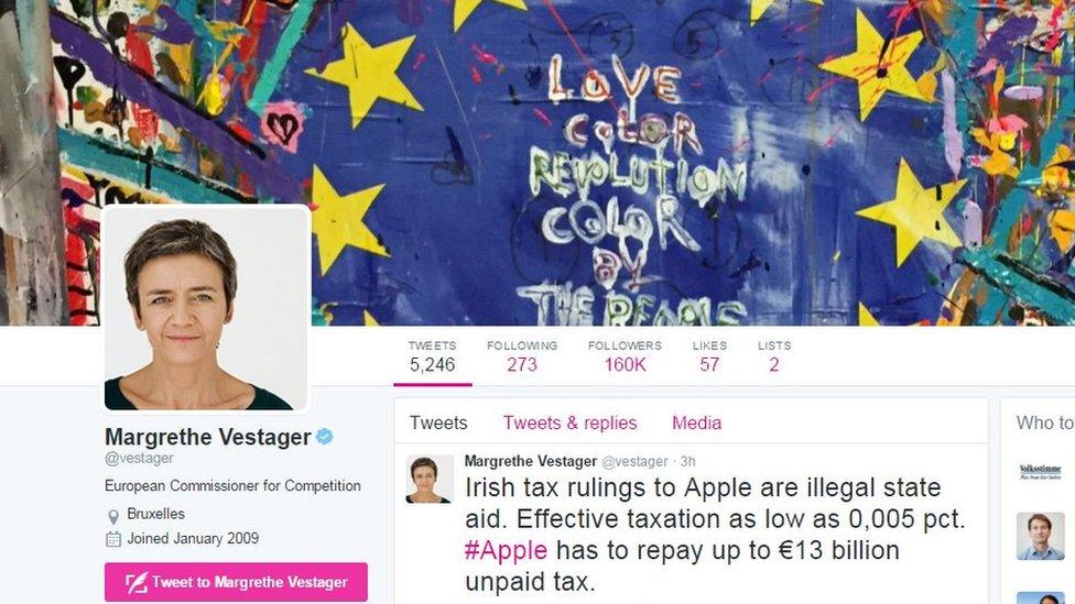 Margrethe Vestager Twitter account