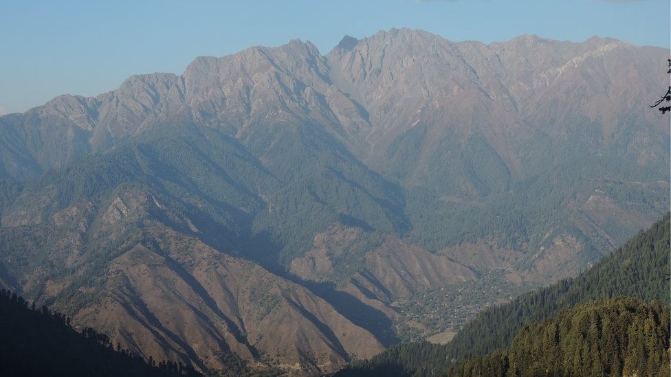 Leepa valley seen from Reshian top. the V-point on the mountain-top in front served as the crossing point for thousands of militants before the Indians started to fence the border.