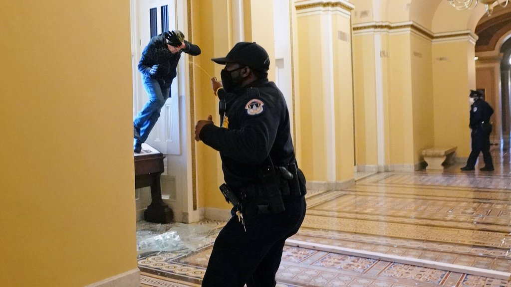 A US Capitol police officer shoots pepper spray at a protester attempting to enter the Capitol building