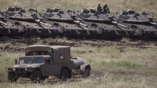 Las fuerzas israelíes en los territorios ocupados de los Altos del Golán