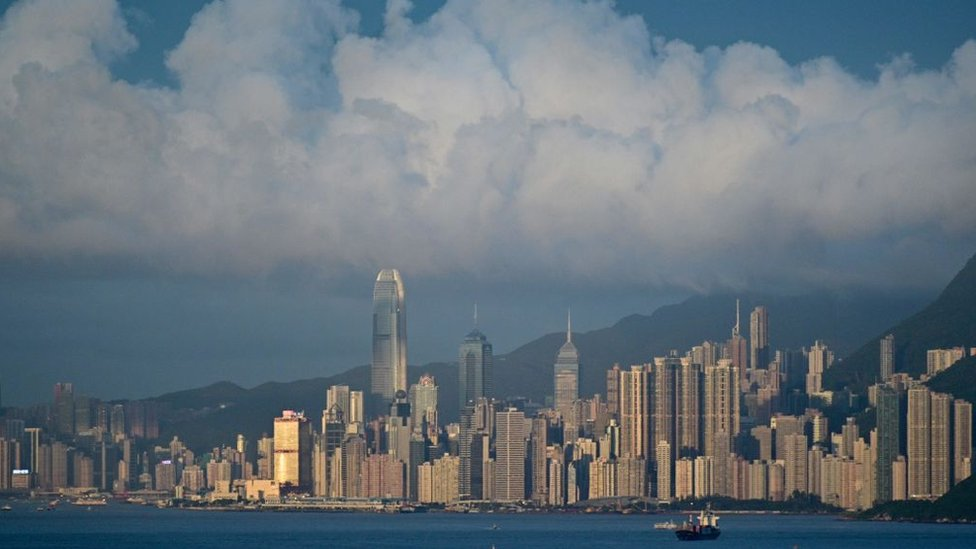 This picture taken on June 13, 2019 shows a general view shows of the Hong Kong skyline.