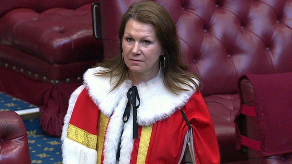 Baroness Hayman in the House of Lords wearing red synthetic robes