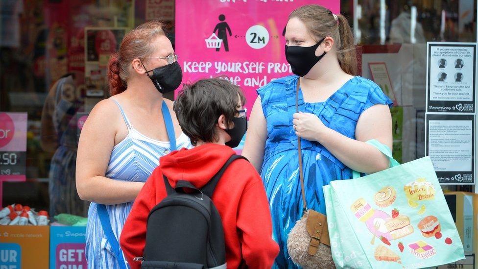 Shoppers in Wigston