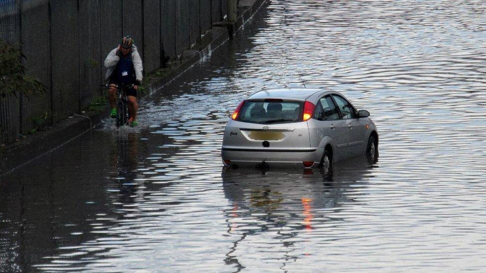 A car in water in Southampton