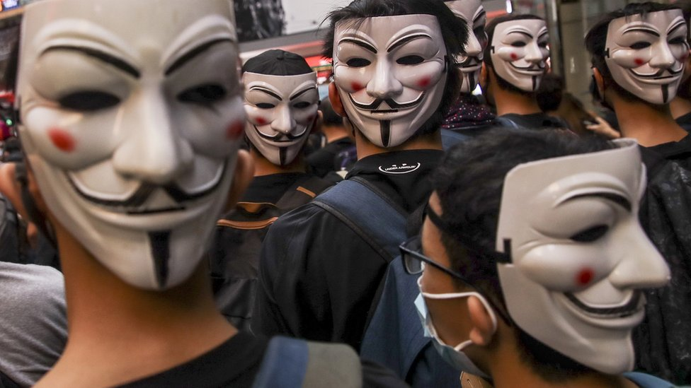 Protesters wearing Guy Fawkes masks take part in an Anti-ERO (Emergency Regulations Ordinance) demonstration against a newly imposed law banning face masks in public in Hong Kong, China, 06 October 2019