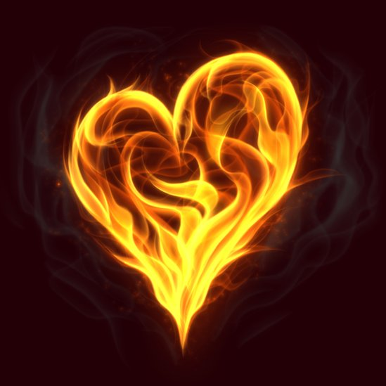 Illustration of heart symbol made of fire