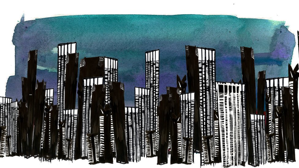 Illustration depicting a skyline of Sao Paulo
