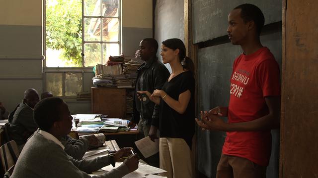 Eneza team in a classroom