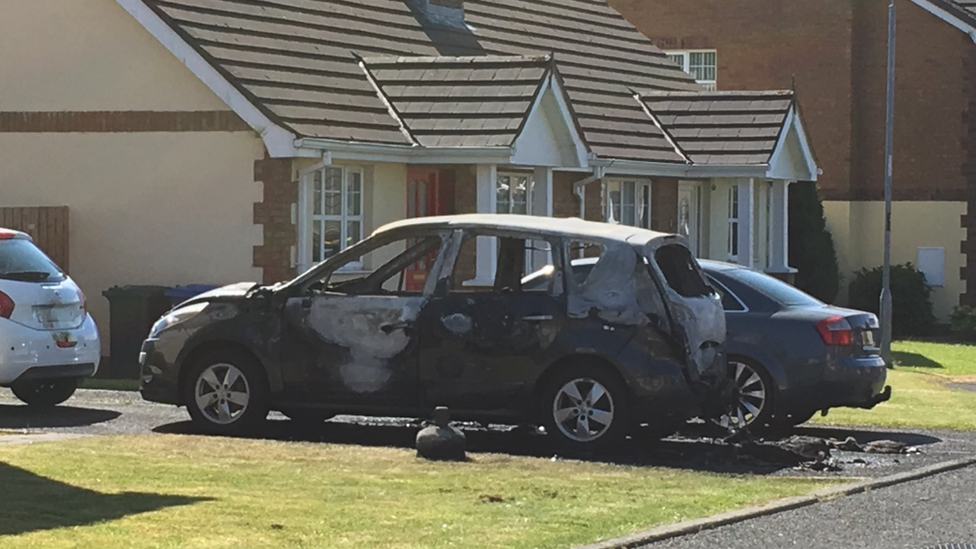 Man taken to hospital after car set on fire in Londonderry
