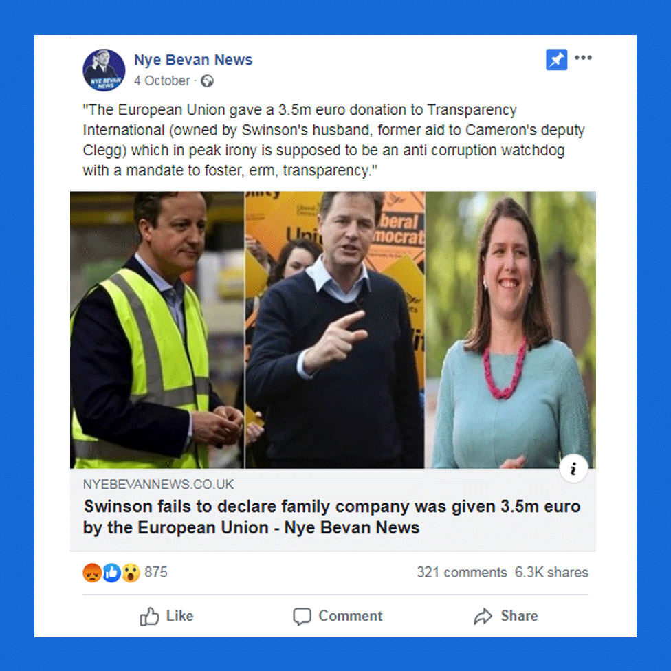 "Post from ""Nye Bevan News"" with headline ""Swinson fails to declare family company was given 3.5m euro"""