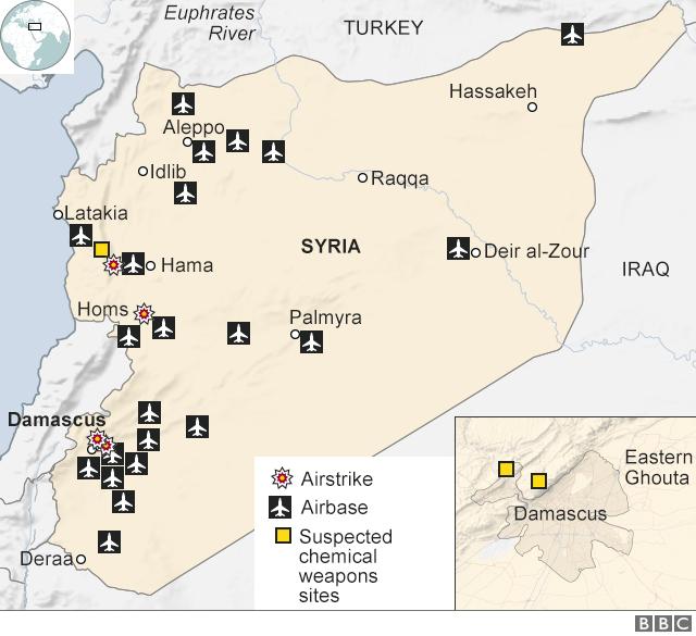 Mapa na kojoj su obeleženi ciljevi u vazdušnim napadima na Siriju