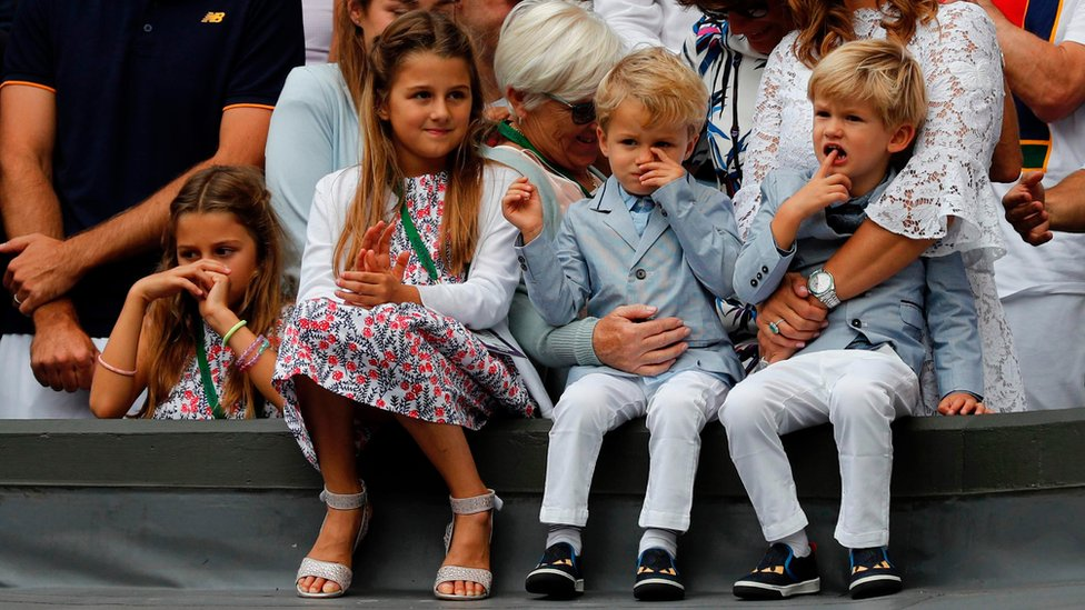Roger Federer's children Charlene Riva, Myla Rose, Lenny and Leo at Wimbledon