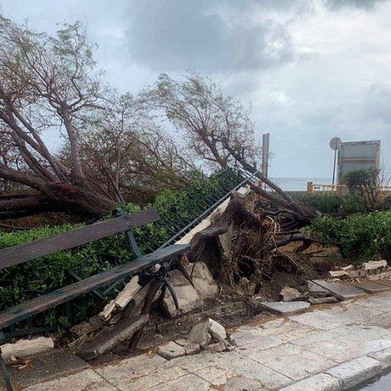 Medicane storm damage on Zakynthos, 18 Sep 20