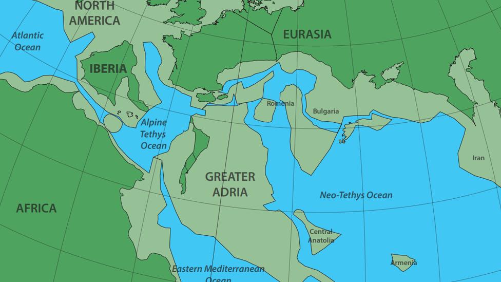 Mapa que muestra la colisión de Gran Adria con Europa