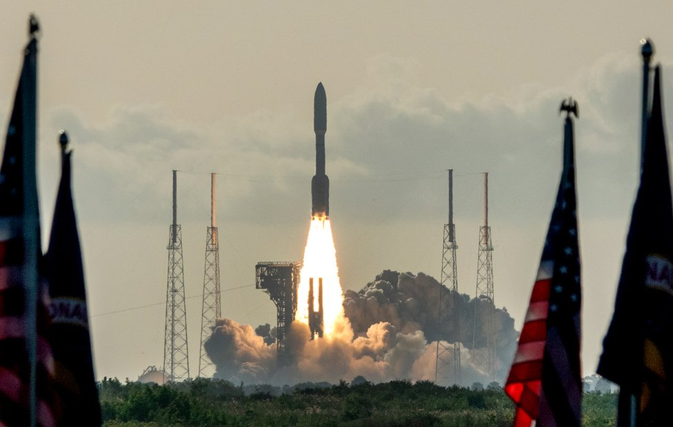 The Mars 2020 Perseverance mission lifts off