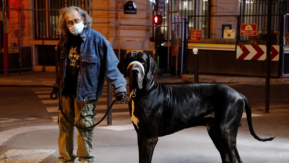 Man in a mask walking his Great Dane in Paris after 9pm curfew