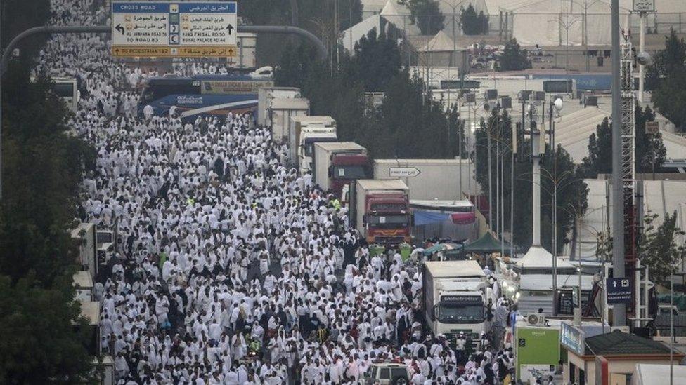 Muslim pilgrims walk together towards Mount Arafat (10 September 2016)