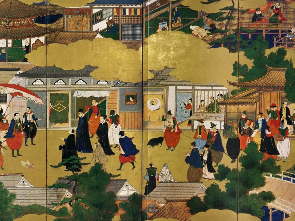 Ilustración sobre la presencia de portugueses en Nagasaki en el siglo XVI
