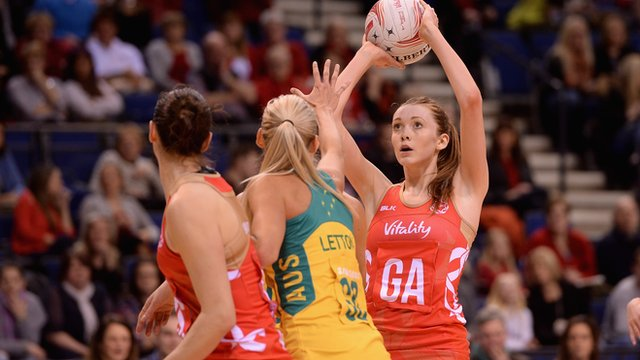 Helen Housby playing netball for England
