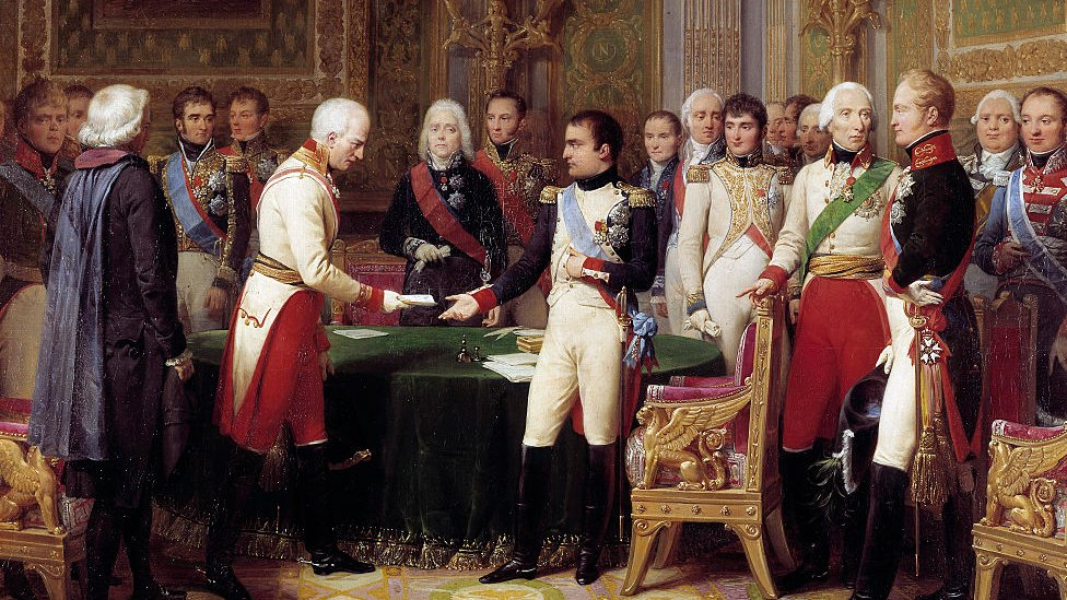 Napoleón recibiendo al embajador de Austria, Baron Vincent. Al medio, se ve a Talleryrand, quien se desempeñó como ministro de Exteriores de Napoleón.