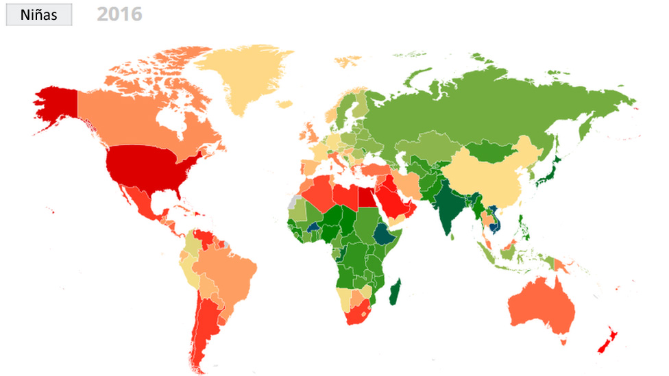 Mapa mundial de la obesidad en niñas en 2016