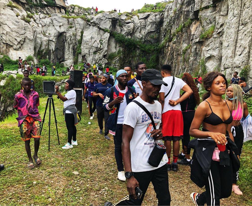 People at Mpape Crushed Rock near Abuja, Nigeria