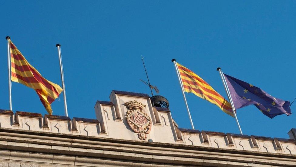 Flags fly outside Girona City Hall
