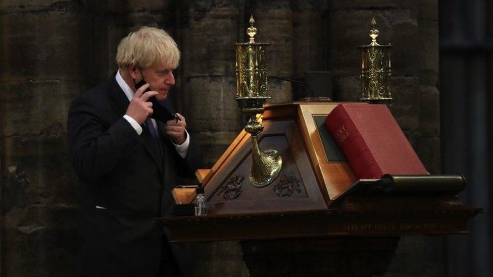 Prime Minister Boris Johnson in Westminster Abbey