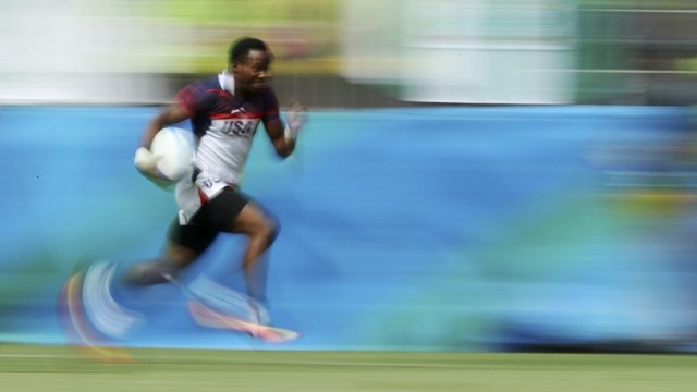 Carlin Isles (USA) of USA runs in for a try on 11 August in Rio