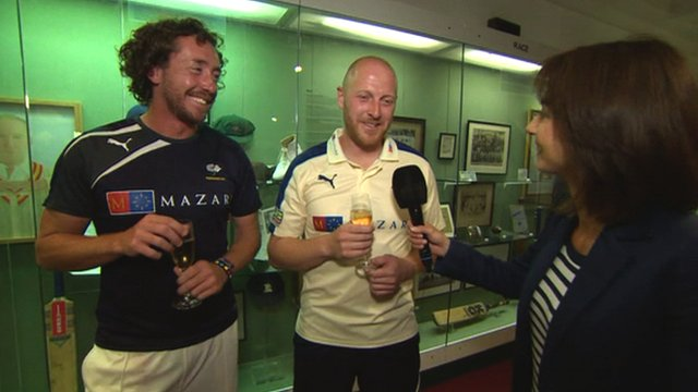 Yorkshire's Ryan Sidebottom (l) and Andrew Gayle are interviewed by Tanya Arnold (r)