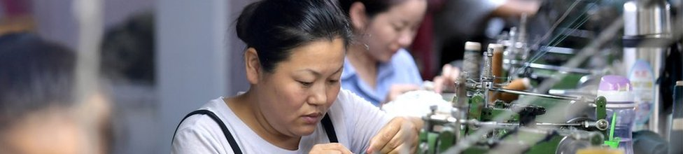 Women work in a factory in China