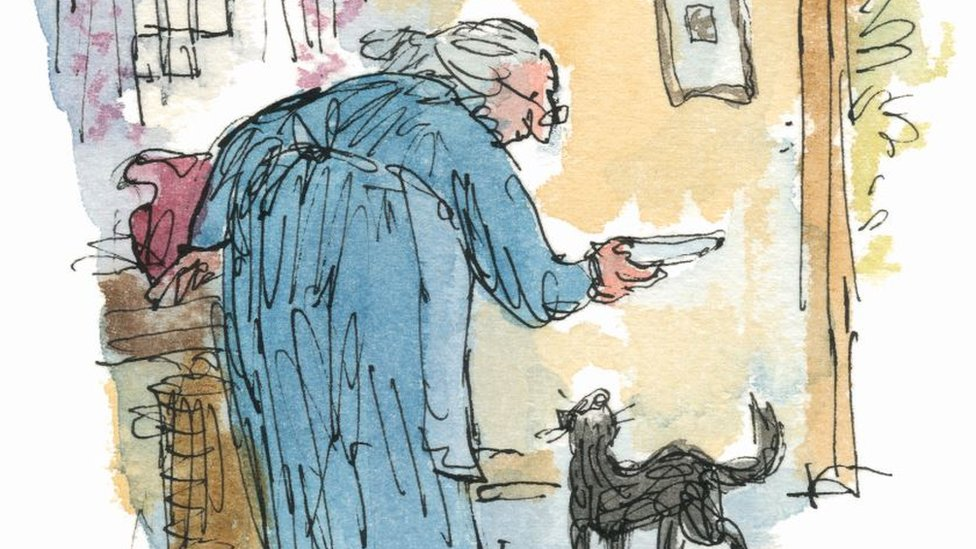 Quentin Blake's illustration for Kitty-in-Boots