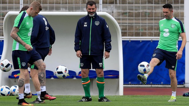 Roy Keane during Monday's training session in Lille