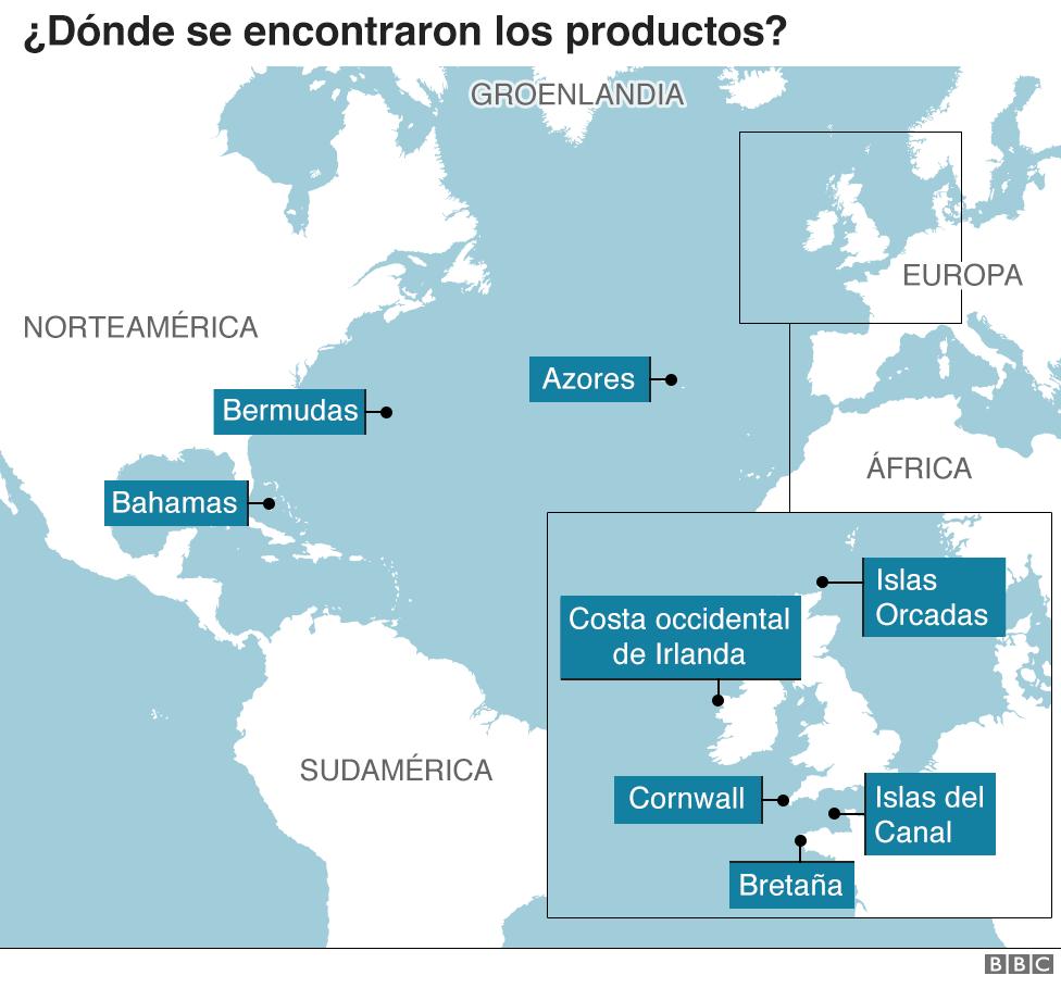 Mapa de dónde se encontraron los productos