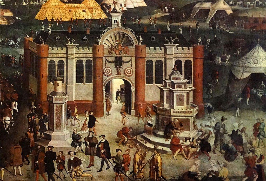 """El palacio """"portátil"""" de los ingleses, con la fuente de vino al frente."""