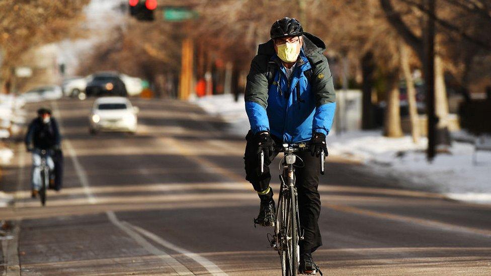 Cyclist in Denver, Colorado on Thursday. December 17, 2020